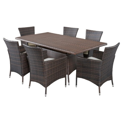 Jennifer 7pc Wicker Patio Dining Set With Cushions Brown Christopher Knight Home