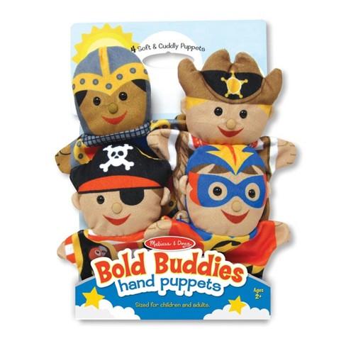 Melissa & Doug Bold Buddies Hand Puppets (Set of 4) - Knight, Pirate, Sheriff, and Superhero - image 1 of 4