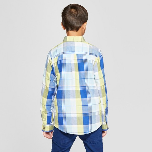 2639b9c95d184 Boys  Long Sleeve Plaid Button-Down Shirt - Cat   Jack™ Blue Yellow   Target