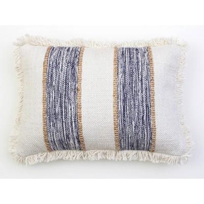 "14""X20"" Bodhi Jute Rope Fringe Trim Pillow Blue - Decor Therapy"
