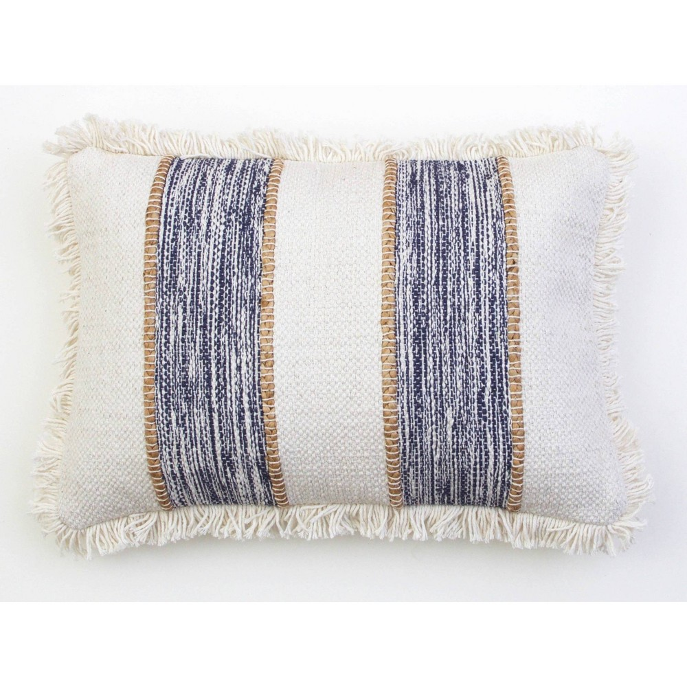 "Image of ""14""""X20"""" Bodhi Jute Rope Fringe Trim Pillow Blue - Decor Therapy"""