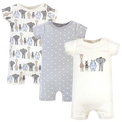 Hudson Baby Infant Boy Cotton Rompers 3pk, Royal Safari