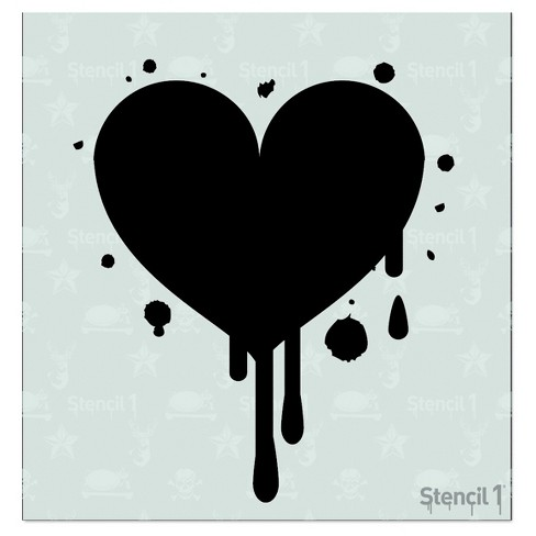 "Stencil Dripping Heart 5.75"" x 6"" - Stencil1, Inc. - image 1 of 2"