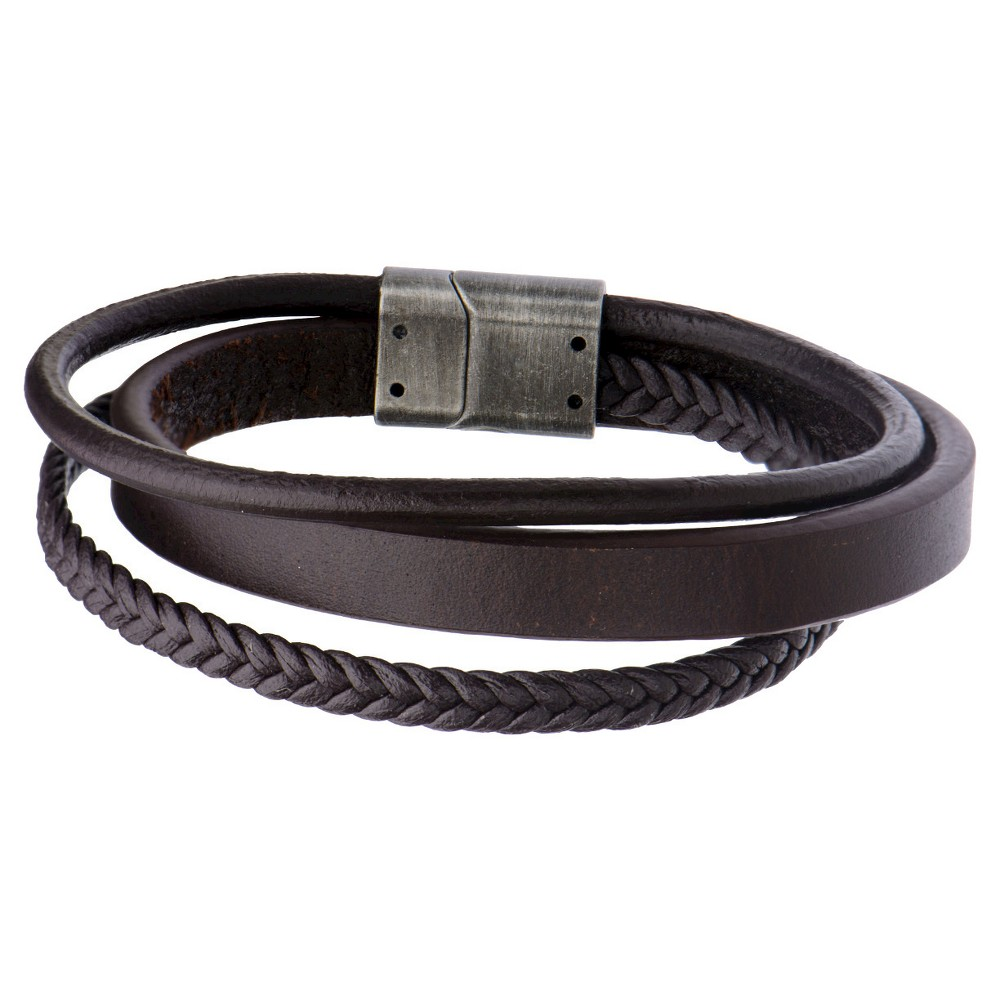 Men's Steel Art Brown Braid and Layered Leather Bracelet with Stainless Steel Clasp (8.75)