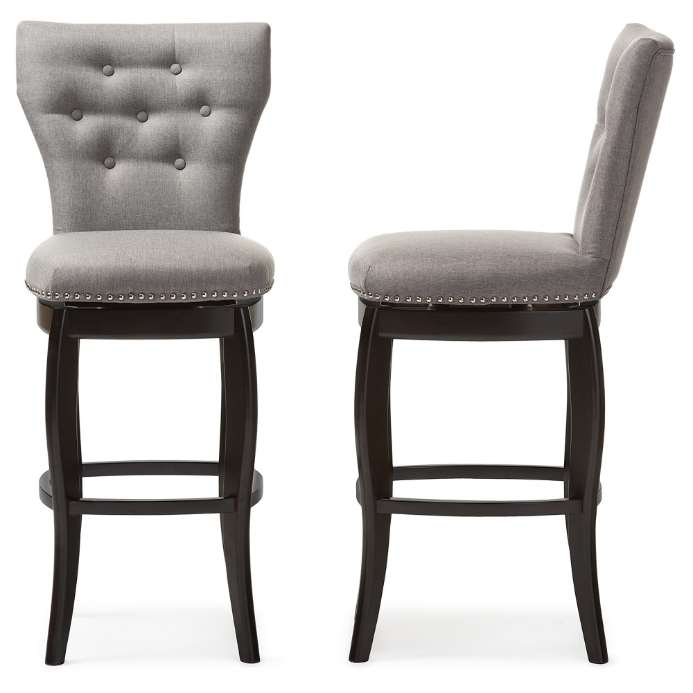 """Image of """"29"""""""" Leonice Modern and Contemporary Fabric Upholstered Button Tufted Swivel Bar Stool - Gray - Baxton Studio"""""""