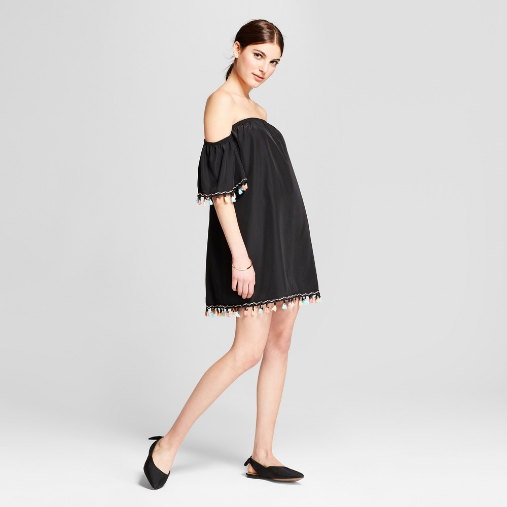 Women S Woven Tassel Trim Dress Vanity Room Black M