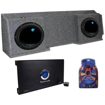 "2) Planet Audio AC12D 12"" Subs + Chevy Silverado Ext '99-06 Box + Amp + Wiring"