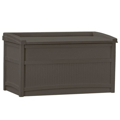Suncast DB5500J 50 Gallon Outdoor Resin Storage Chest with Lid and Seat for Patio, Garden, Deck Cushions or Pool for All Weather, Java