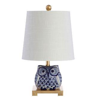 16u0022 Justina Ceramic Mini LED Table Lamp Blue/White (Includes Energy Efficient Light Bulb) - JONATHAN Y