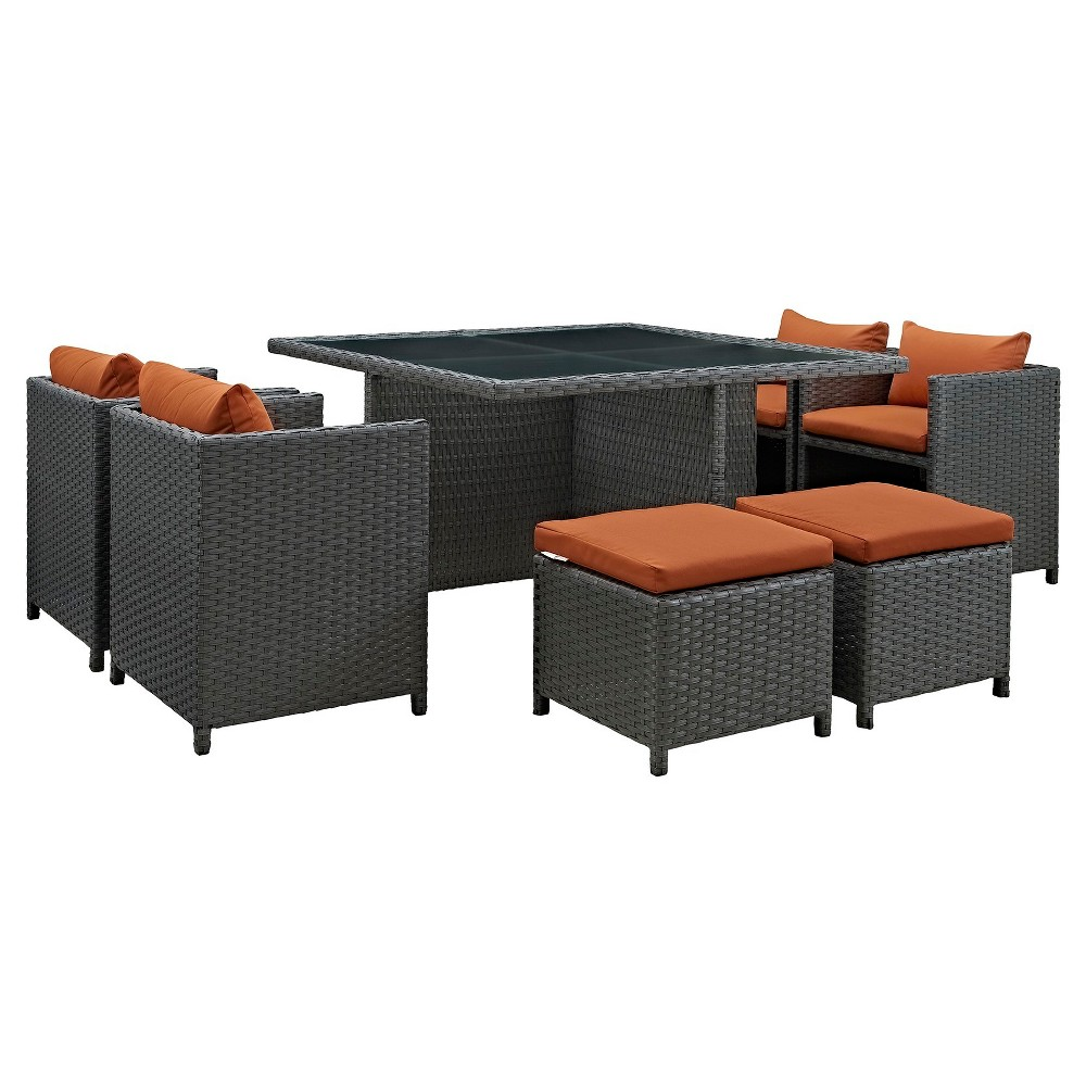 Sojourn 9pc Square All-Weather Wicker Patio Dining Set w/ Sunbrella Fabric - Dark Orange - Modway