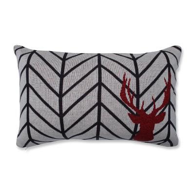 Herringbone Buck Lumbar Throw Pillow Gray/Black - Pillow Perfect