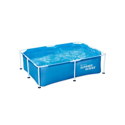 Summer Waves P30705240 7 x 5 Foot 24 Inch Deep Rectangular Small Metal Frame Above Ground Family Backyard Swimming Pool, Blue
