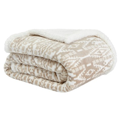 "50""x60"" San Juan Sherpa Throw Blanket Pearl/Cream - Eddie Bauer"