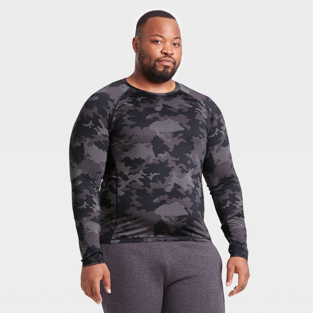 Men's Long Sleeve Fitted T-Shirt - All in Motion Black Camo Print XXL, Men's, Black Green Print was $20.0 now $14.0 (30.0% off)