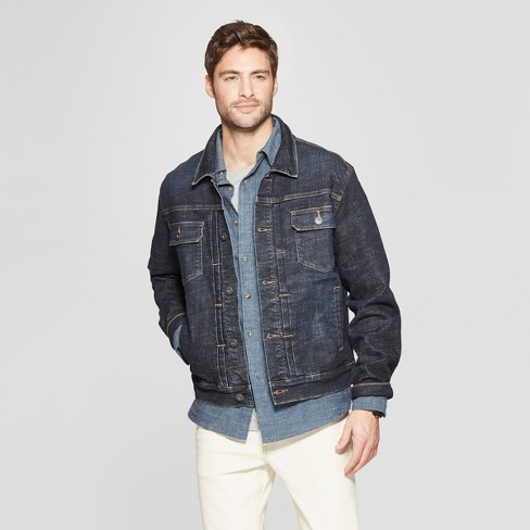 2bd1caec8a2 Men s Crosshatch Denim Trucker Jacket - Goodfellow   Co™ Dark Wash ...