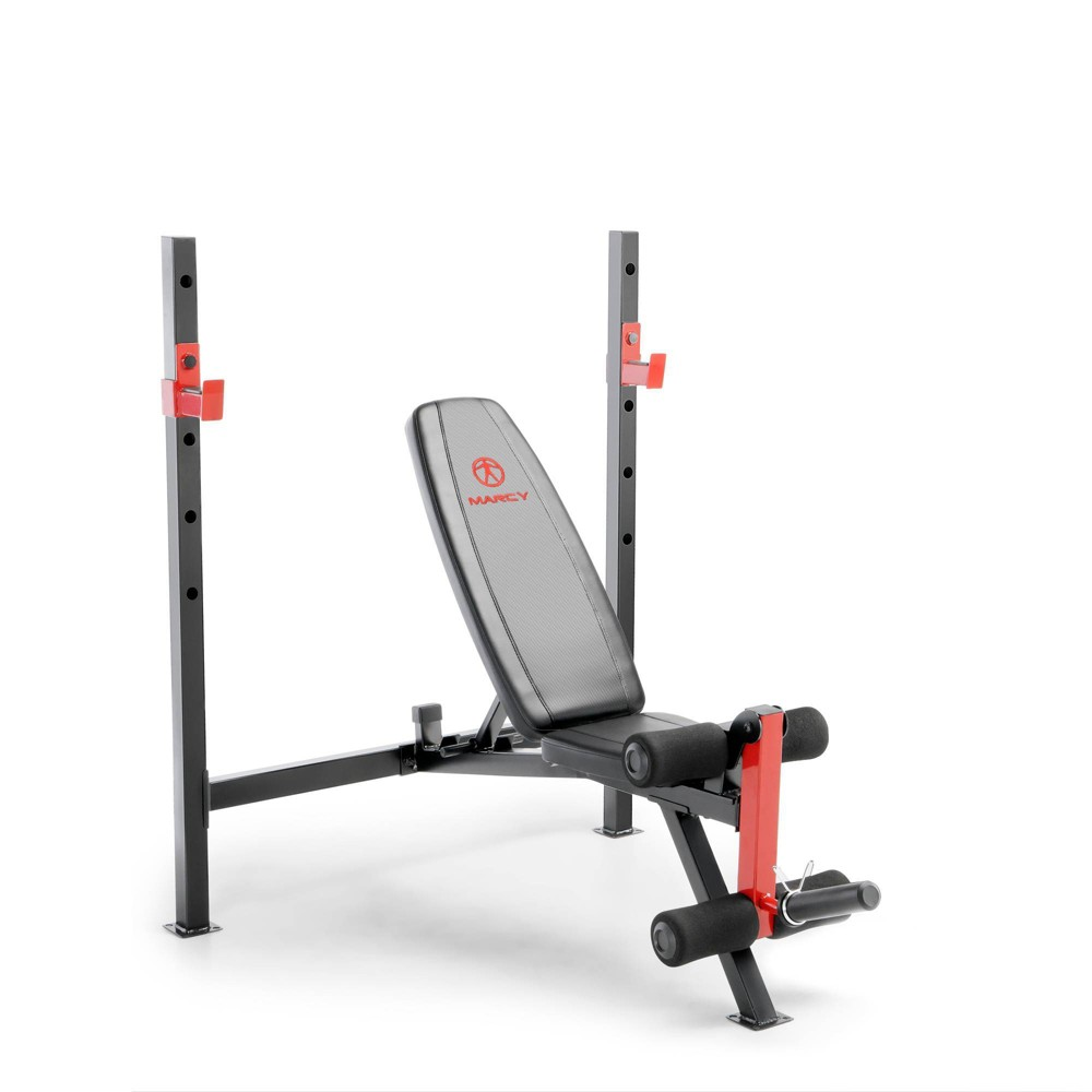 Marcy Adjustable Olympic Weight Bench, Black Red