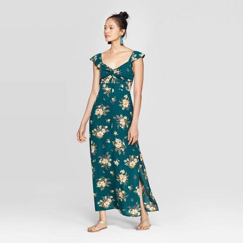 Women's Floral Print Flutter Short Sleeve V-Neck Ruched Front Maxi Dress - Xhilaration™ Deep Teal - image 1 of 2