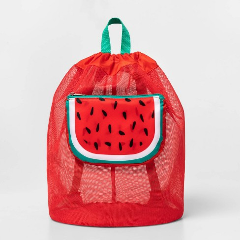 Mesh Cinch Bag With Watermelon Pocket Red - Sun Squad™ - image 1 of 5