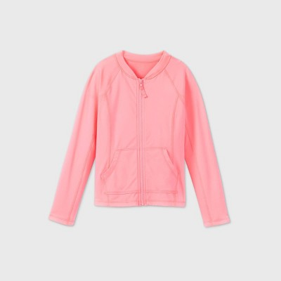 Girls' Adaptive Rash Guard Swim Shirt - Cat & Jack™ Sunshine Pink