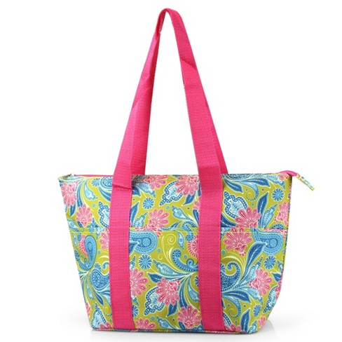 Zodaca Large Insulated Lunch Tote Bag, Green/Pink Paisley - image 1 of 2
