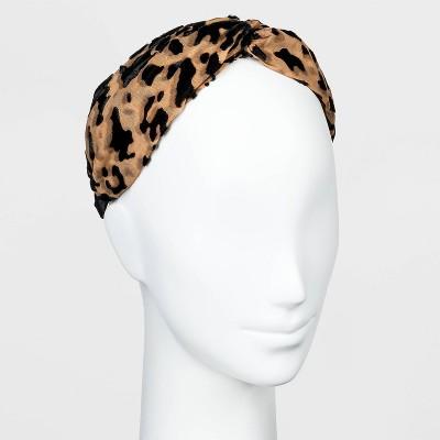 Chiffon and Velvet Cheetah Twist-Front Headband - A New Day™ Blush Pink