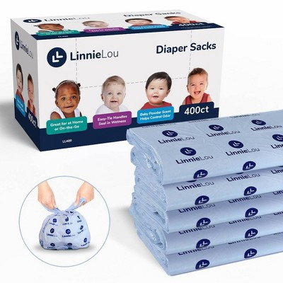 LinnieLou Baby Powder Scented Disposable Diaper Sacks - 400ct