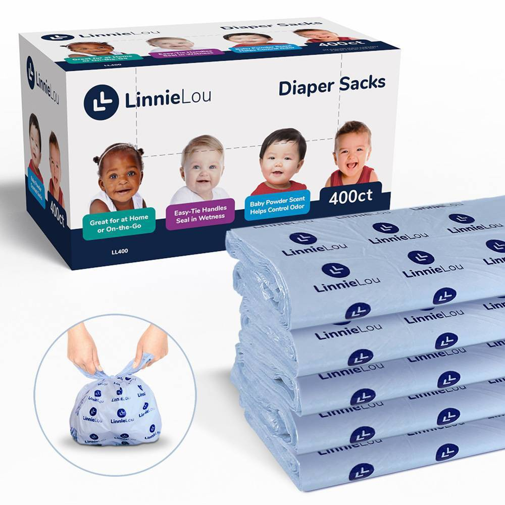 LinnieLou Baby Powder Scented Disposable Diaper Sacks - 400ct, Blue