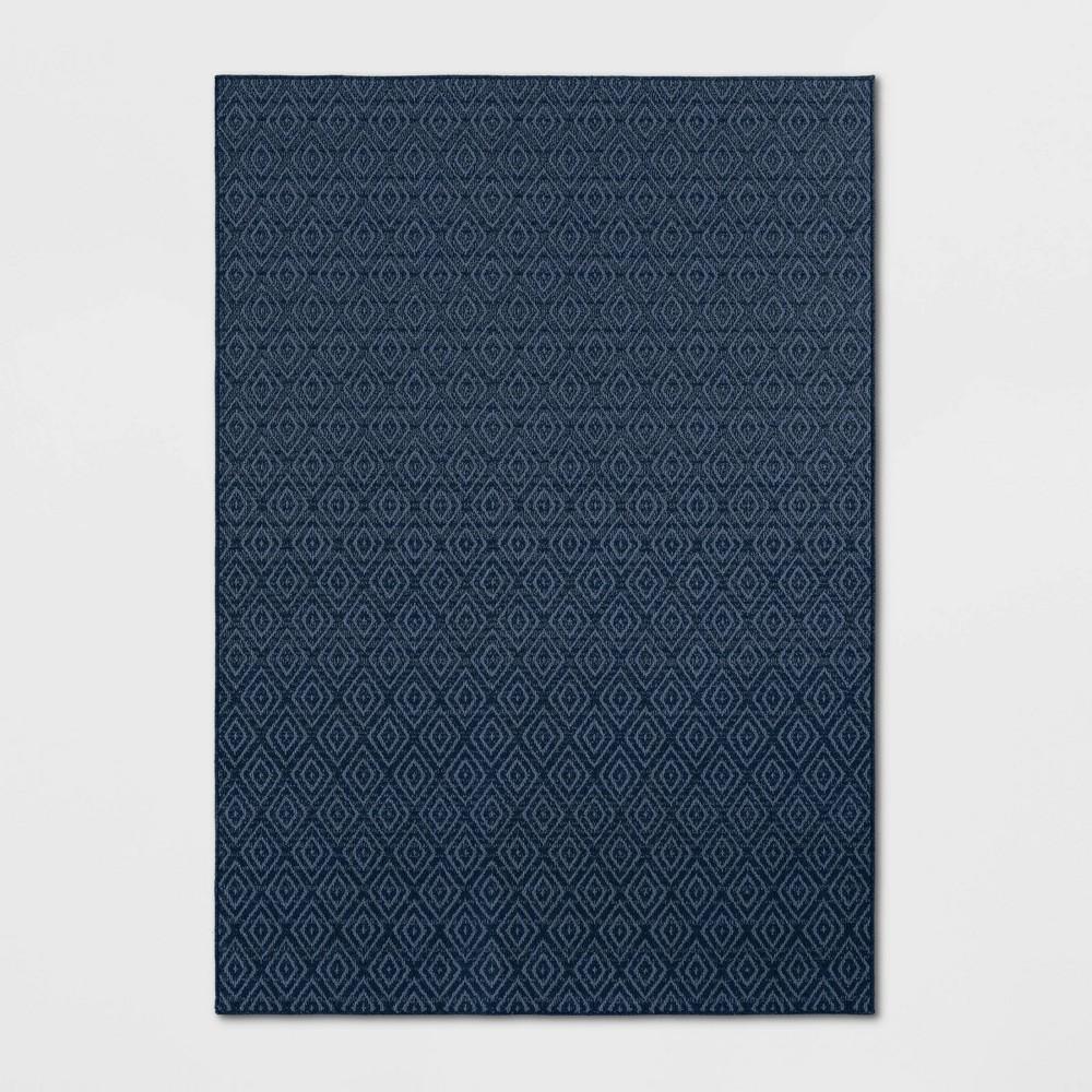 7'X10' Indoor/Outdoor Diamond Woven Area Rug Navy (Blue) - Threshold