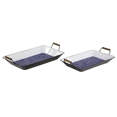 Set of 2 Farmhouse Style Floral Metal Serving Trays with Wood Handles Blue - Olivia & May