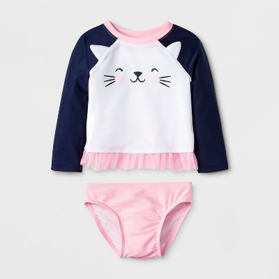 Baby Girls' Long Sleeve Cat Face Rash Guard Set - Cat & Jack™ White 12M