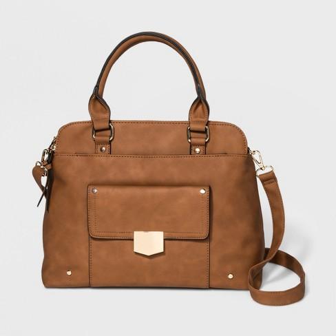 1ef61c3d9e VR By Violet Ray Triple Compartment Satchel Handbag - Cognac   Target