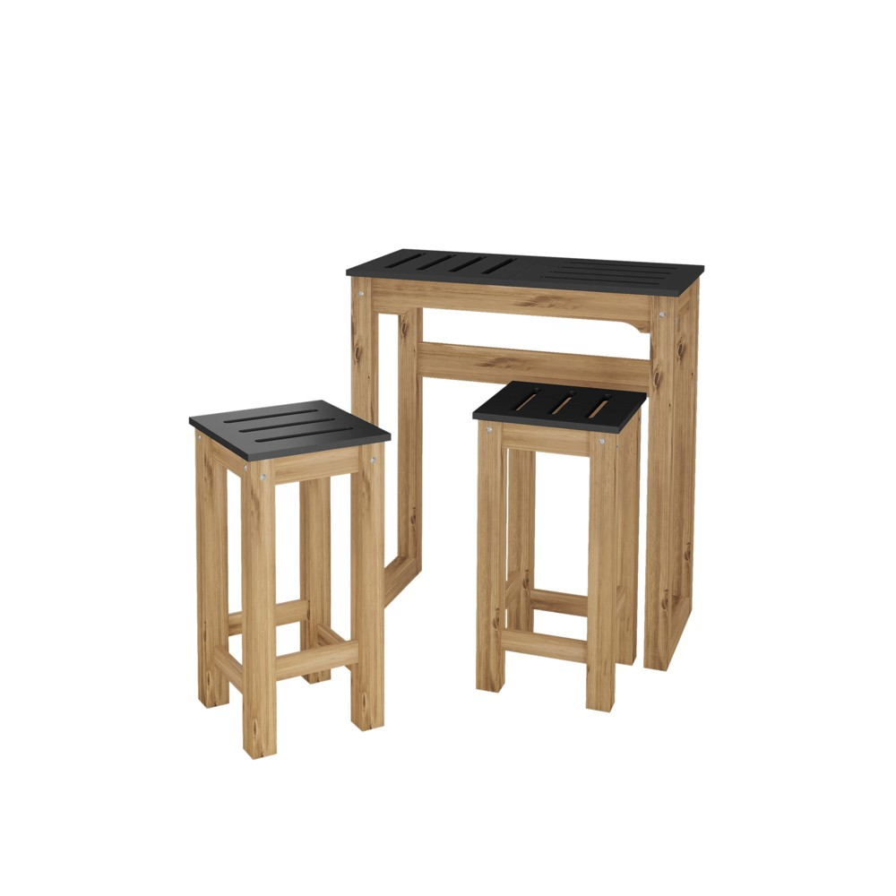 Image of 31.5 3pc Stillwell Natural Wood Bar Kitchen Set Black - Manhattan Comfort
