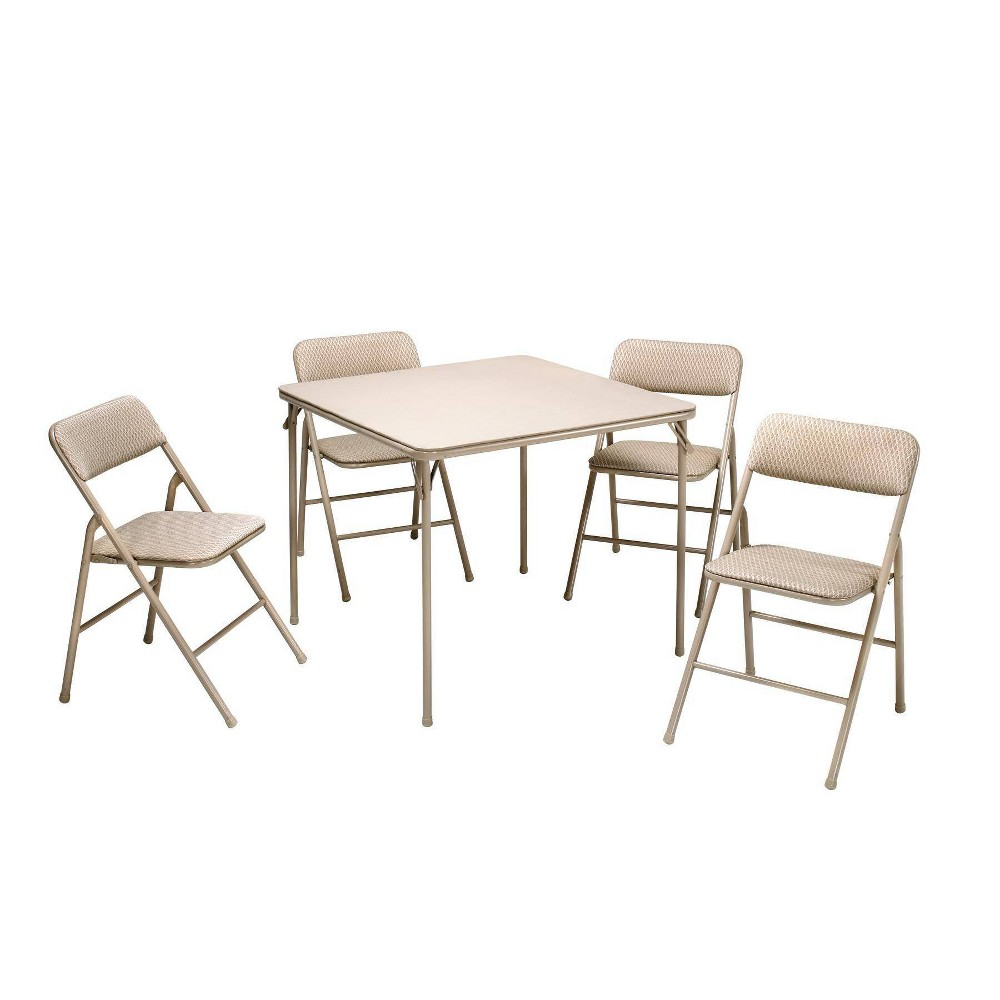 Image of 5pc Folding Table and Chair Set Tan - Room & Joy, Beige