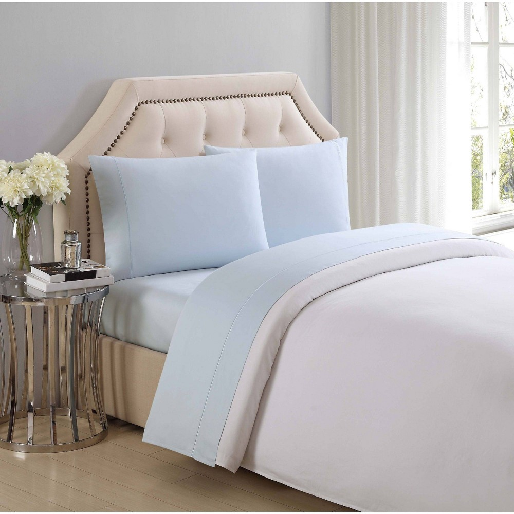 Image of California King 310 Thread Count Solid Cotton Sheet Set Sky Blue - Charisma, Blue Blue