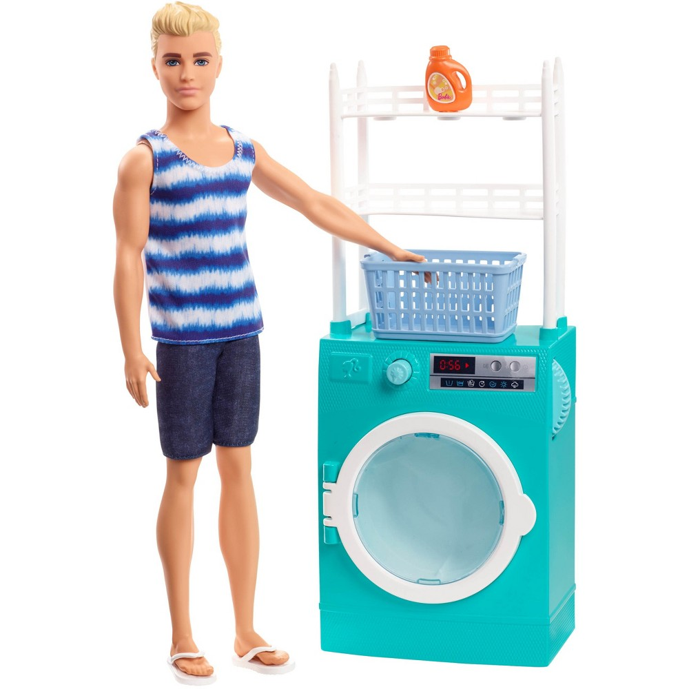Barbie Ken Doll & Laundry Playset Ken doll is ready to clean up with a laundry room Barbie playset. It comes with Ken doll, a furniture accessory and storytelling pieces that let kids control the action with cool working features. The Ken laundry set helps wash away the day with a washer/dryer unit that has a working knob and spinning motion that small hands can easily use. Additional pieces inspire richer stories; some of the accessories have handles the doll can hold or feature a plug-and-play design that helps hold them in place for active play and easy clean-up! Young imaginations will love completing chores with Ken doll and discovering that when they play with Barbie, they imagine everything they can become! Includes Ken doll wearing fashions and shoes, washer/dryer with rack, laundry basket and detergent bottle. Doll cannot stand alone. Colors and decorations may vary. Gender: Unisex.