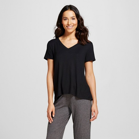 Women's Pajama Fluid Knit T-Shirt - Gilligan & O'Malley™ - Black XS - image 1 of 2