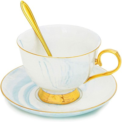 Juvale 3 Piece Tea Cup Gift Set with Spoon and Saucer for 1 (7 Oz, Blue)