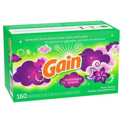 Gain Moonlight Breeze Fabric Softener Dryer Sheets - 160ct