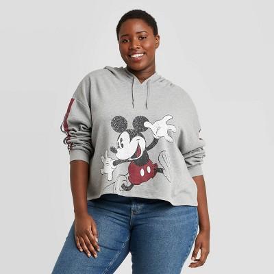 Women's Disney Jumping Mickey Hooded Graphic Sweatshirt - Heather Gray