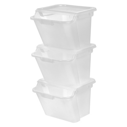 IRIS 41.6 Qt Recycle Storage Bin - 3 Pack - Clear - image 1 of 4