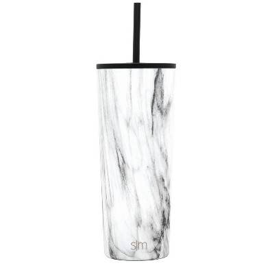 Simple Modern 24oz Insulated Stainless Steel Classic Tumbler with Straw and Flip Lid Carrara Marble