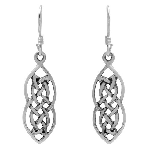 Women's Journee Collection Sterling Silver Elongated Tight Celtic Knot Dangle Earrings - Silver - image 1 of 2