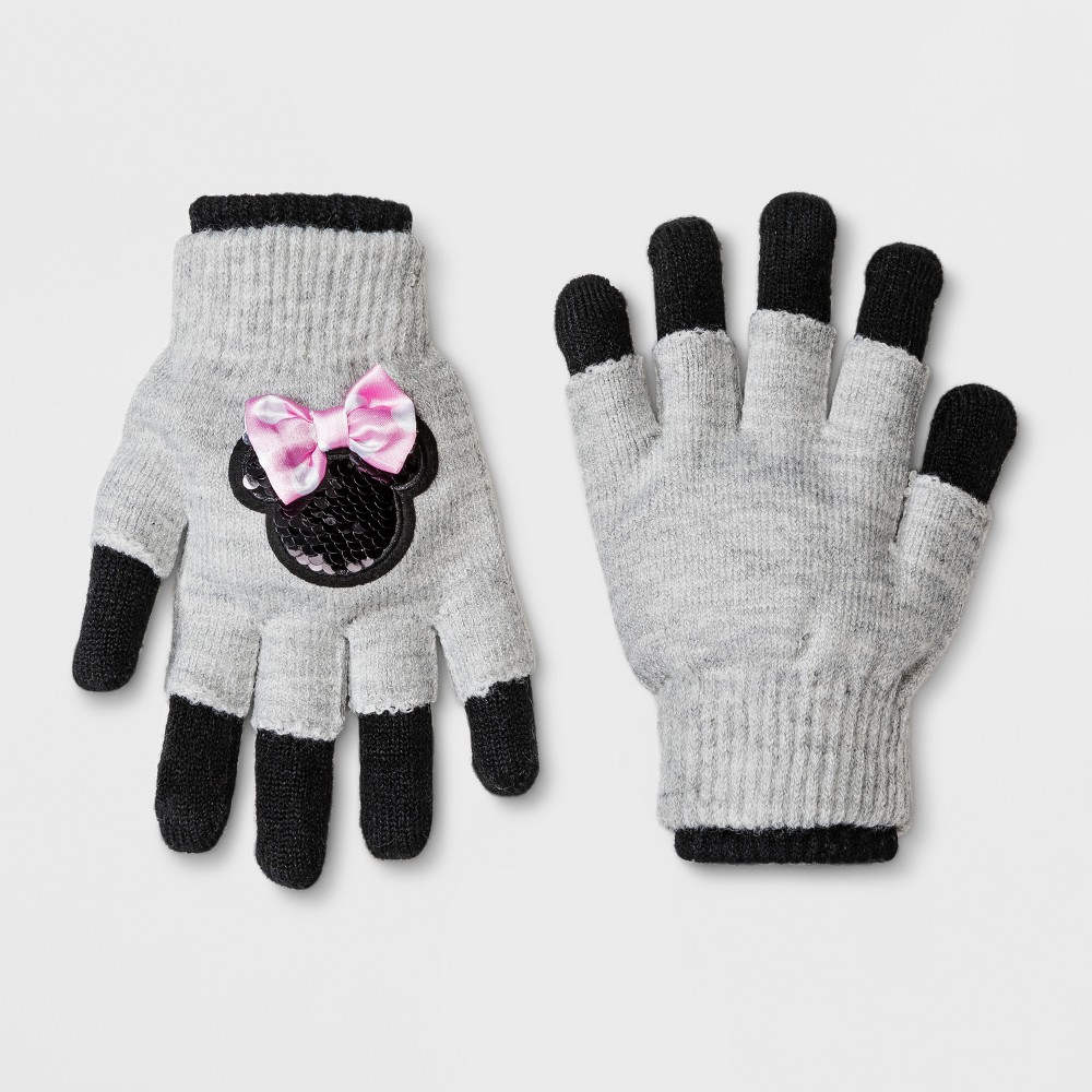 Girls' Minnie Mouse Gloves - Gray One Size