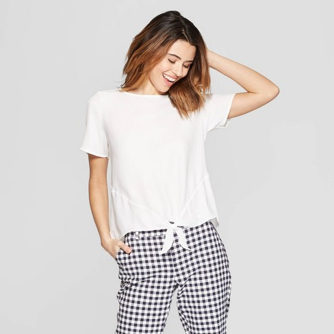 Women's Short Sleeve Crewneck Satin Tie Front Top - A New Day™ White XS - image 1 of 3