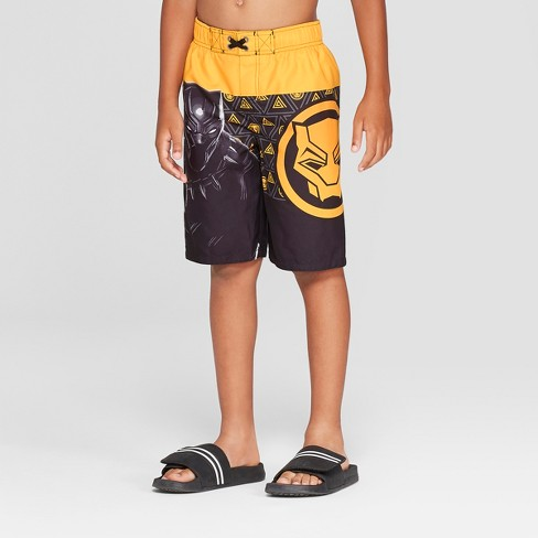Boys' Black Panther Gold Swim Trunks - Black - image 1 of 3