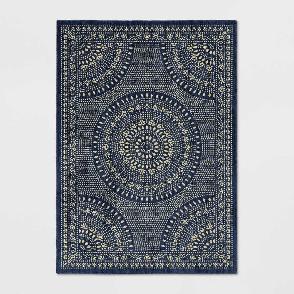 Butterfield Woven Novelty Area Rug Navy