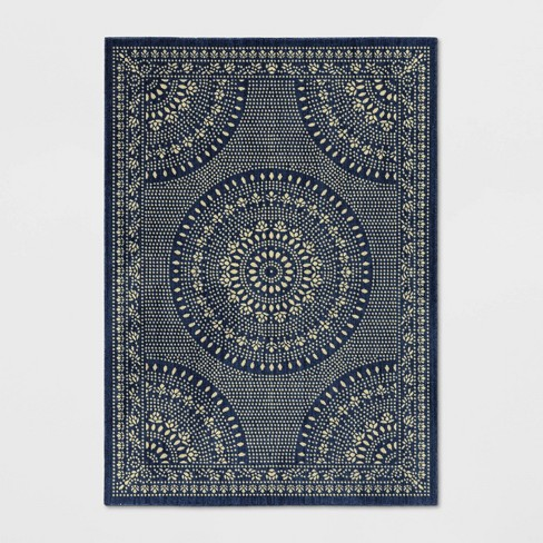 Erfield Woven Novelty Area Rug Navy