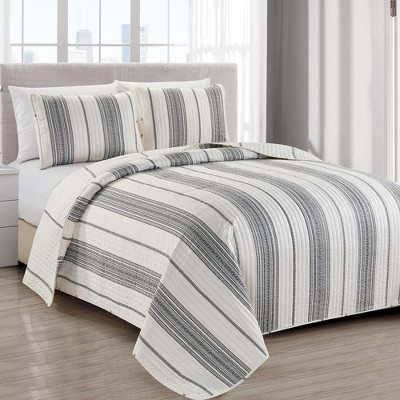 Great Bay Home Wesley Reversible Striped Quilt Set