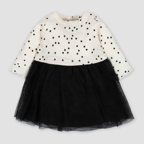 Gerber Baby Girls' Tiny Dots Tulle Dress - White/Black - image 1 of 4