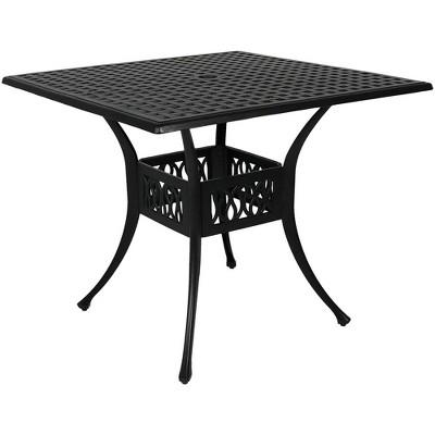 "35"" Cast Aluminum Square Dining Table - Black - Sunnydaze Decor"